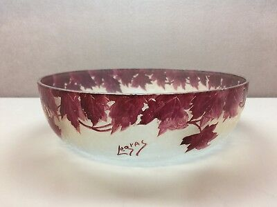 LEGRAS CAMEO GLASS BOWL Leaves Maroon