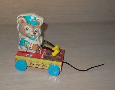 """2005 FISHER PRICE """"TINY TEDDY"""" Bear Xylophone Wood Pull Toy"""