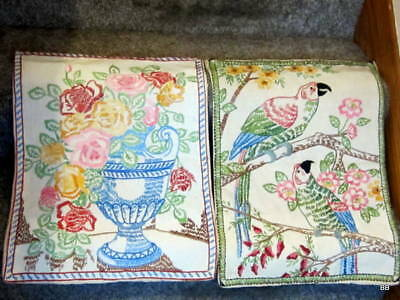 Lot 2 Free Embroidered Table Runner Textile Antique Bright Yarn Colors WWI Linen
