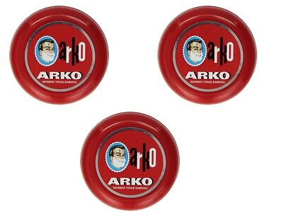 3 x Arko Shaving Soap 90g In Case Bowl | Classic Wet Shaving | Luxurious Lather