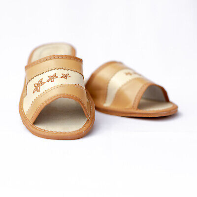 Womens Ladies Slippers Sandals Home Shoes Natural Leather Kapcie New ALL SIZES
