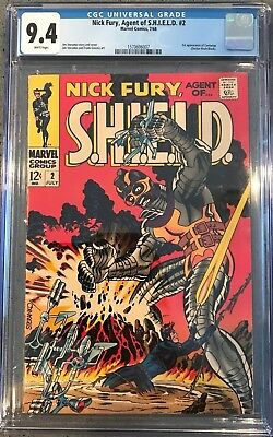 Nick Fury, Agent of SHIELD #2 CGC 9.4 White Pages 1st Centurius!KEY ISSUE!L@@K!