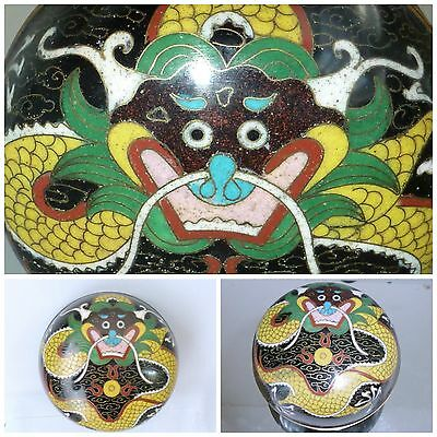 Antique Quing Dynasty Chinese Cloisonne enamel Box 5 Toe Dragon Jewellery Bowl