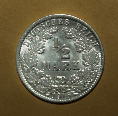 Germany 1/2 Mark 1916-J Brilliant Uncirculated Silver Coin - Imperial Eagle