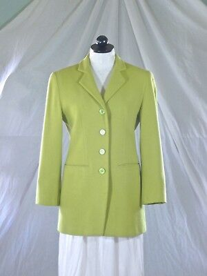 YEAR END BLOWOUT : JAX Esther Wolf Houston vintage 90s chartreuse wool BLAZER 4