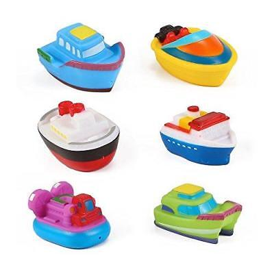 Floating Boat Tub Toys - Rubber Bath Squirters for Baby (Set of 6 Toy Boats)