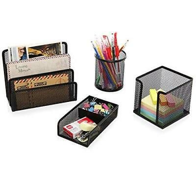4 Piece Black Wire Mesh Office Desk Organizer Set W Mail Sorter Pencil Holder