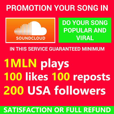 Soundcloud Song Promotion Plays USA Followers Likes Reposts Comments HQ Seo Safe