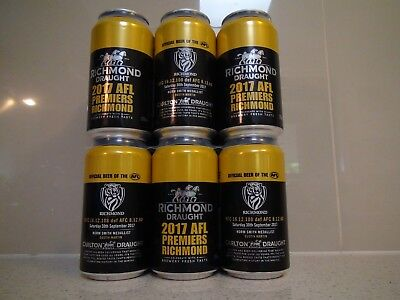 Sealed 6 pack of Richmond Tigers 2017 Premiership Beer Cans