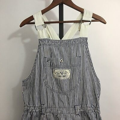 Vintage 80s Street Equipt Womens Overalls Sz S Engineer Striped Festival Wear