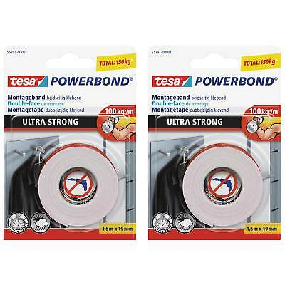 2 x tesa doppelseitiges Montageband ULTRA STRONG, 2 x 1,5m x 19mm