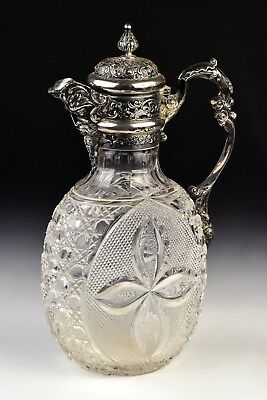 Antique English Sterling Silver & Cut Glass Caret Jug by William Comyns London