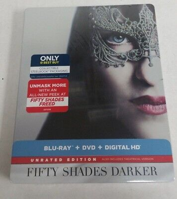 Fifty Shades Darker Unrated Edition Blu-Ray DVD Steelbook NEW SEALED