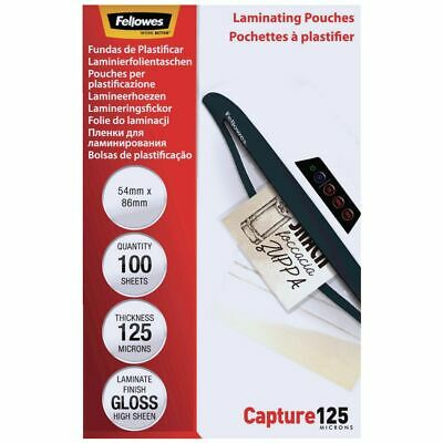 Fellowes Laminating Pouches 125 Micron Gloss 100 Pack