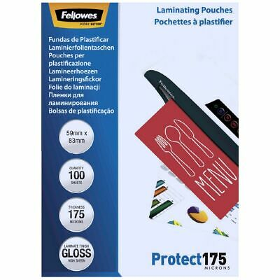 Fellowes Laminating Pouch 59 x 83mm 175 Micron Gloss 100 Pack