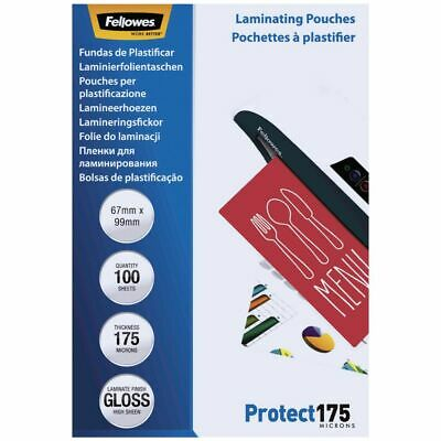 Fellowes Laminating Pouch 67 x 99mm 175 Micron Gloss 100 Pack