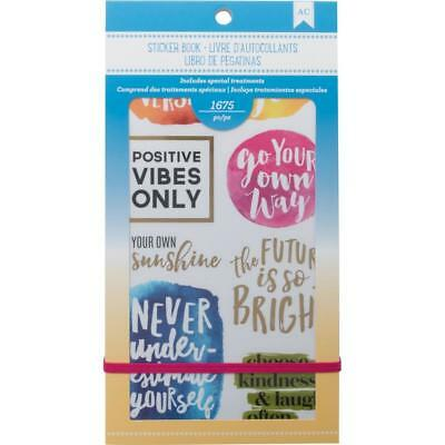 American Crafts - Inspirational Life - 30 Page Sticker Book Quotes Foil Accents