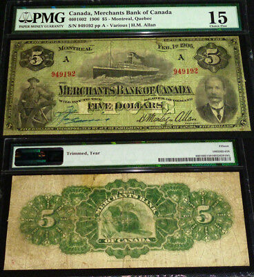35 Known - 1906 $ 5  The Merchants Bank Of Canada  Pmg 15