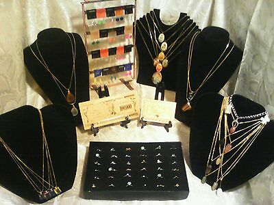 70+Pc.MIXED JEWLERY-LOT~RINGS/EARRINGS/GEMSTONE&CAB NECKLACES+GOLD$100K & MORE!j
