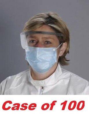 """100 CRITICAL COVER COMBO Surgical-Earloop Mask With Shield & Snaps, Size: 7"""""""