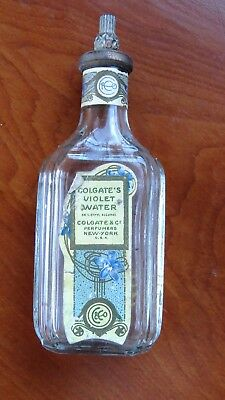 Original Colgate & Co. Perfumers labeled Violet Water w/Brass Stopper C.1900s