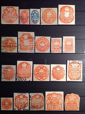 GB REVENUE, EMBOSSED IMPRESSED x 40, 1d to 10/- values, all different, 2 PAGES