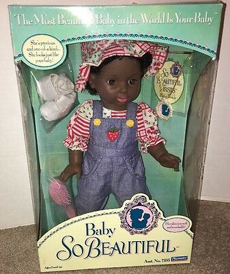 NWT Playmates Vintage 1995 Baby So Beautiful African American Baby Doll Gift