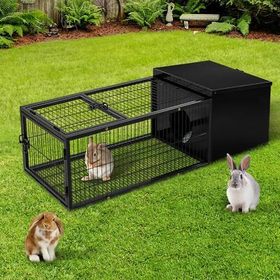 Metal Rabbit Cage Hutch Pet Guinea Pig Chicken Run Animal House Coop Lockable AU