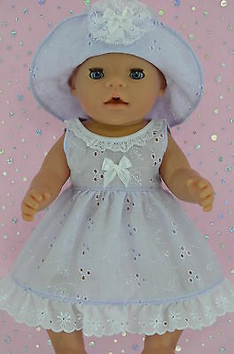 "Play n Wear Doll Clothes To Fit 17"" Baby Born LILAC BRODERIE ANGLAISE DRESS~HAT"