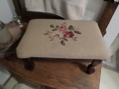 Vintage Foot Stool Needle Point Floral MILLERSBURG PRODUCTS CO.,Inc.