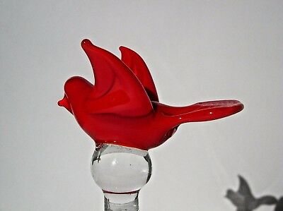 glass bell with hand blown red bird finial