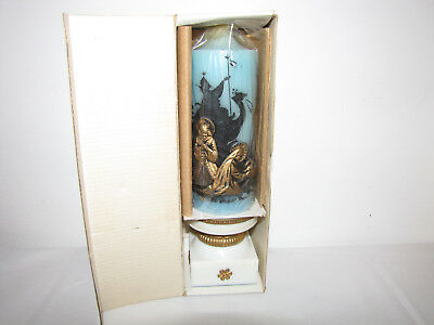 Christmas Adoration candle and holder - Vintage Brand New still wrapped.