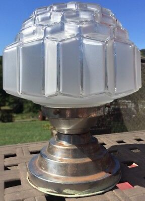 VTG Art Deco skyscraper Ceiling Light Lamp Fixture bath hall porch BEAUTIFUL!!