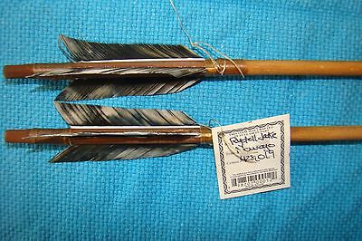 2 Handmade Navajo 26 Inch Arrows w/grey mix feathers & Stone chipped Arrowheads!