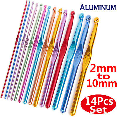 14Pcs/Set Crocheting Needle Metal Aluminum Crochet Hook Knitting Craft Yarn Kit
