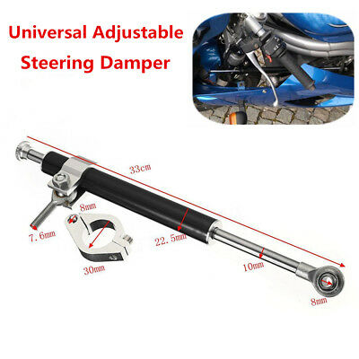 330mm Motorcycle Universal Aluminum Steering Damper Stabilizer Linear Adjustable