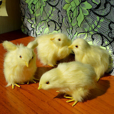 4 Realistic Easter BABY CHICKS PHOTO PROP Fake Fur REPLICAS Toy Chicken Figurine