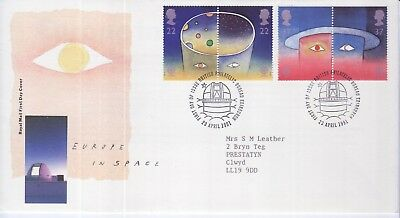 GB Stamps First Day Cover Europa Europe in Space, telescope SHS Observatory1991