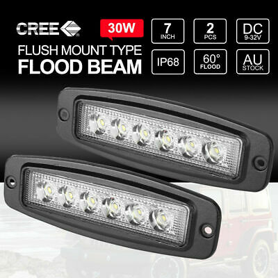 2x 7inch 30W CREE FLOOD LED Light Bar FLUSH MOUNT Driving Work Reverse 12V24V 6""