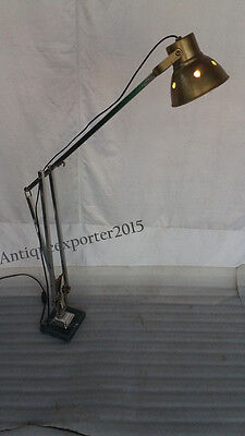 Retro Corner Study Lamp With Antique Brass & Nickle Lamp With Green Marble Base