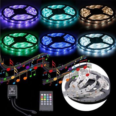 LED Strip Light 5050 RGB 5M 300 LED SMD 12V Waterproof  + IR Music Sound Sensor