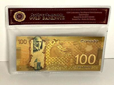 24KT GOLD Plated $100 BILL/ BANKNOTE CANADA *NO TAX + FREE SHIP*CANADIAN SELLER