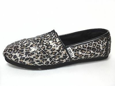 bef7dd26b1c8 TOMS Shoes Leopard Animal Print Sparkle Slip On Flats Womens US 5 EU 35.5  $60