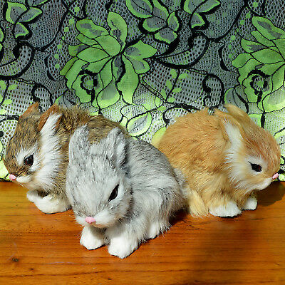 3 Realistic Lifelike Rabbits Fur Furry Animal Figurine Easter Bunnies Photo Prop