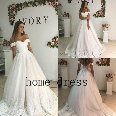 A-LINE OFF-THE-SHOULDER LACE summer Wedding Dresses Bridal Gown ...