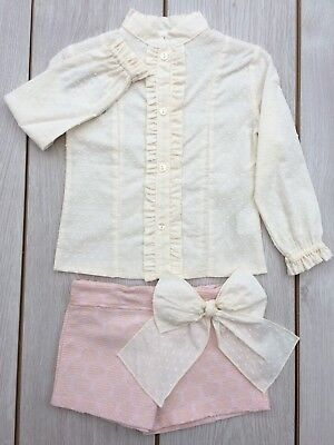 A New Romany Spanish Girls Short Set Pink Cream  Age 2-.12