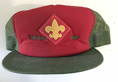 Vintage Red Olive Boy Scout Troop 188 Ball Cap Fleur de lis Size M/Lg Adjustable