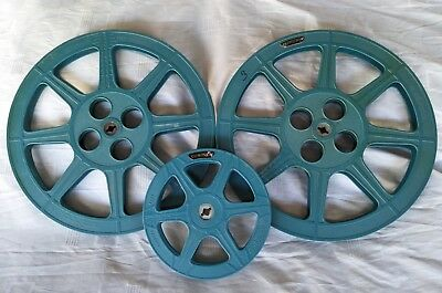 3 x Vintage 16mm Movie Projector Take Up Reels Tuscan Brand 2 x 1200' 1 x 400'