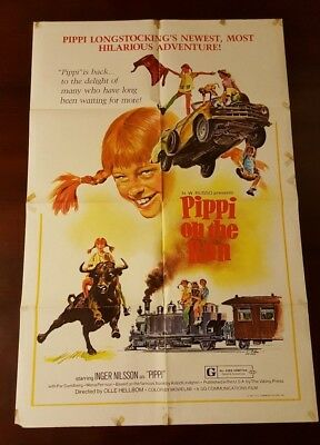 PIPPI LONGSTOCKING ON THE RUN Movie Poster (Fine-) One Sheet 1977 Folded 2919