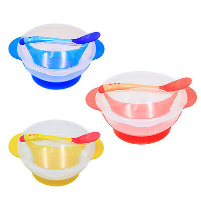 Baby Kid Suction Bowl Temperature Colour Changing Spoon Feeding Tableware Set BT